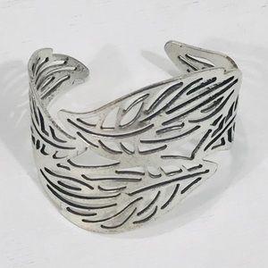 Silver Toned Leaf Cuff Bracelet